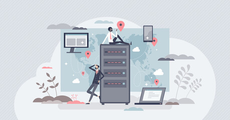 Obraz CDN content delivery network as information distribution tiny person concept. Global server connection for website performance vector illustration. Wireless database optimization for fast browsing. - fototapety do salonu
