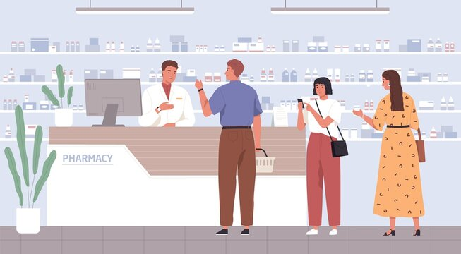 Pharmacist helping customers to choose drugs in pharmacy. People at drugstore's counter, buying medicines and consulting with druggist. Colored flat vector illustration of pharmaceutical service