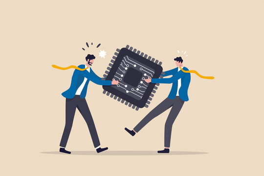 Semiconductor and computer chip supply chain shortage due to Coronavirus COVID-19 pandemic, electronics manufacturing problem concept, businessman tug of war fighting to get computer chip.