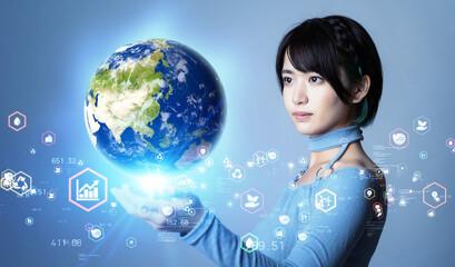 Fototapeta 地球を見る女性 環境イメージ サステナブル SDGs obraz
