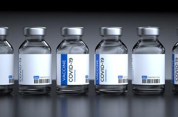 Fototapeta COVID-19 vaccination Concept. Covid-19 Corona Virus 2019-ncov vaccine bottles injection. Vaccination, immunization, treatment to cure Covid 19 Corona Virus infection. 3D Render. obraz