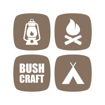Vector brown bushcraft motif with four icons tent, fireplace, light. Isolated on white background.