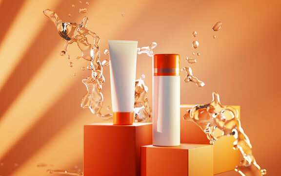 Sunscreen bottles on podium in splash water, uv protection. Skincare lotion, beauty cosmetic cream, white mockup tube on orange background 3d illustration, product ad presentation on stage in sunlight