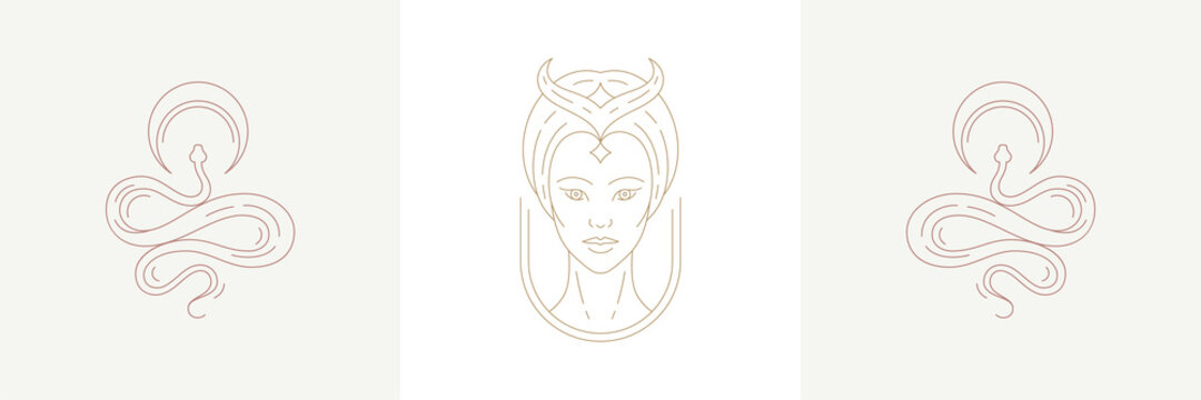 Magic woman enchantress head and crescent with curvy snakes in boho linear style vector illustrations set