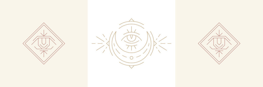 Magical eye of wisdom and moon crescent in boho linear style vector illustrations set.
