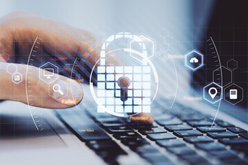 Data protection and cyber security concept with virtual lock symbol surrounded by technological icons on man hand typing on keyboard background. - fototapety na wymiar