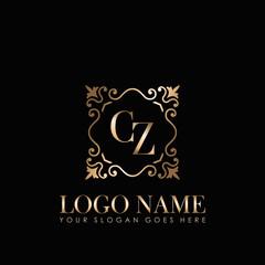 Fototapeta Elegant Monogram Initial Letter CZ, With Gold Ornament Design Template. obraz