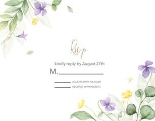 Obraz Watercolor hand painted wedding rsvp card template. - fototapety do salonu