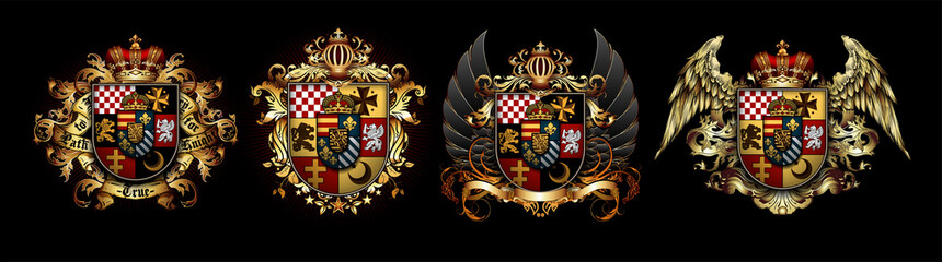 Fototapeta Set of heraldic shields with a crown and wings  on a black background. High detailed realistic illustration obraz