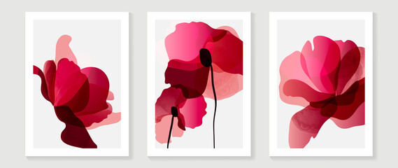 Obraz Abstract art red flower background vector. wall art design with watercolor art texture from floral and botanical flower, x-ray botanical leaves design  Vector illustration. - fototapety do salonu