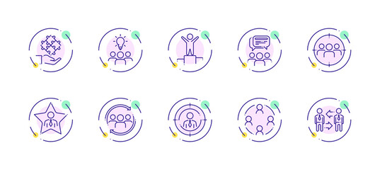 10 in 1 vector icons set related to team work theme. Violet lineart vector icons