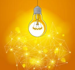 Fototapeta Light bulb and connection lines low poly design, innovative idea concept, modern or future technology, vector design. obraz