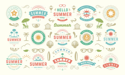 Fototapeta Summer labels and badges design set retro typography for posters, greeting cards and banners. obraz