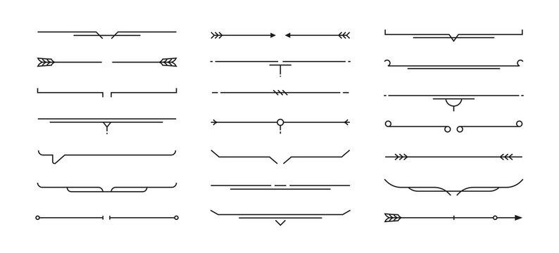 Set of Hand drawn design elements. Vintage line elements. Decorative drawing badges, frames. Decoration, banners, swirls divider, emblems, arrows. Vector illustration.