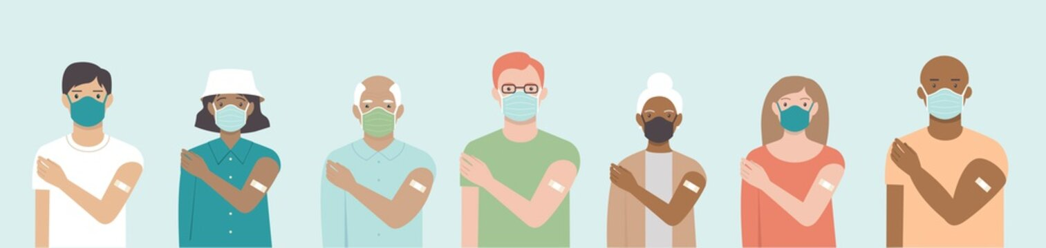 Ethnically diverse and mixed age group of people showing their shoulders with band-aids on after getting a vaccine. Set of multiracial characters. Team vaccinated.