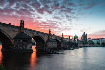 bridge, prague, river, architecture, city, europe, night, charles bridge, charles, sky, travel, old, castle, water, town, vltava, czech, landmark, tourism, czech republic, tower, sunset, sunrise