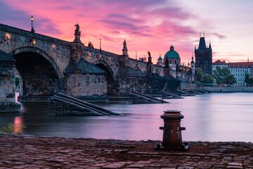 bridge, prague, river, architecture, city, europe, night, charles bridge, charles, sky, travel, old, castle, water, town, vltava, czech, landmark, tourism, czech republic, tower, sunset, building