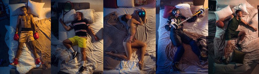 Fototapeta Top view of young professional male and female sportsmen sleeping at his bedroom in sportwear. Collage obraz