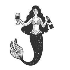 Obraz mermaid with glass and bottle of wine line art sketch engraving vector illustration. T-shirt apparel print design. Scratch board imitation. Black and white hand drawn image. - fototapety do salonu