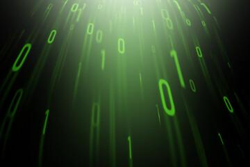 Abstract green binary code on a black background. - fototapety na wymiar