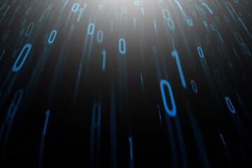 Abstract blue binary code on a black background. - fototapety na wymiar
