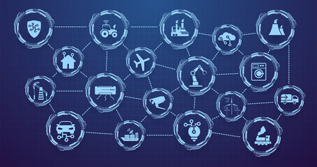 Obraz Internet of Things (IOT) banner. Everything related to the concept of a network device, anywhere, anytime. Digital web for the Internet of Things or a network of smart home devices with icons. Vector - fototapety do salonu