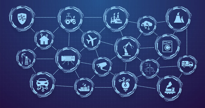 Internet of Things (IOT) banner. Everything related to the concept of a network device, anywhere, anytime. Digital web for the Internet of Things or a network of smart home devices with icons. Vector