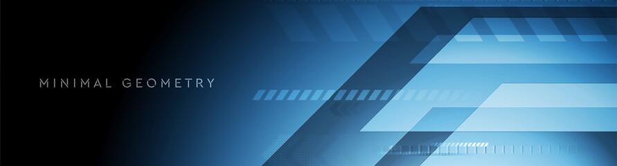 Fototapeta Dark blue tech geometric abstract minimal background. Vector banner design obraz