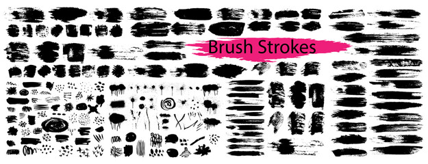 Mega Collection of black paint, ink brush strokes, brushes, lines. Dirty artistic design elements. Vector illustration. Isolated on white background. Grunge brush strokes.