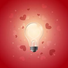 Fototapeta Świecąca żarówka z żarnikiem uformowanym w serduszko na czerwonym tle z abstrakcyjnymi geometrycznymi elementami - romantyczna ilustracja jako koncepcja inspiracji, miłości, pomysłu, kreatywności. obraz