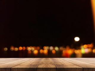 Obraz 3D rendering, wooden top table on isolate blur bokeh background - fototapety do salonu