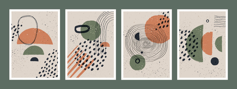 Abstract art minimalist posters set. Scandinavian abstract geometric composition for wall decoration in natural earthy colors. Vector hand-painted illustration