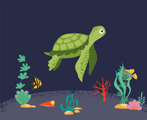 Obraz A sea turtle isolated on a dark background. A joyful marine reptile, a charming underwater animal. Cute turtle and coral reef with fish. Underwater marine life. Vector illustration - fototapety do salonu