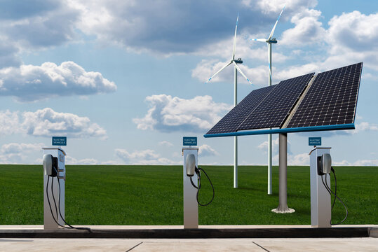 Charging stations for electric vehicles on a background of solar panels and wind turbines