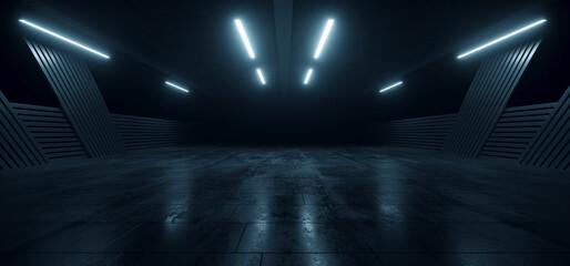 Underground Concrete Hangar Tunnel Garage Realistic Background Showroom Sci Fi Futuristic Modern Grunge Alien Warehouse Hallway Asphalt Dark Lights 3D Rendering