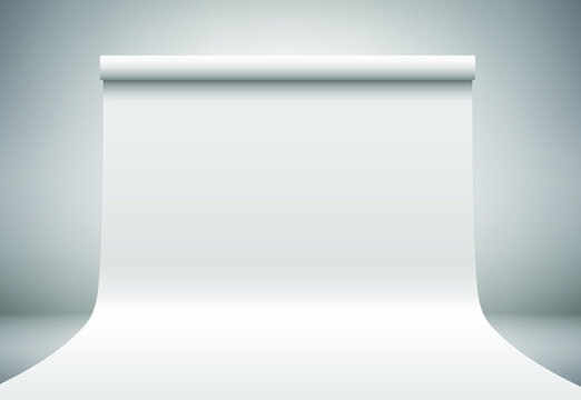 White empty photo studio, abstract light grey background. Design mockup. Gray paper, plastic  backdrop on dark room wall. Realistic 3D template mock up. Vector illustration. Place product, showcase.