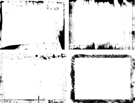 Paintbrush damaged grungy border for aged photo effect. Four rectangle vector frames.