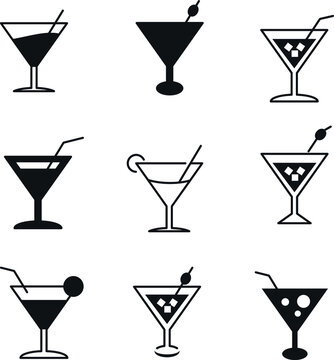 cocktail icon symbol set symbol vector elements for infographic web.