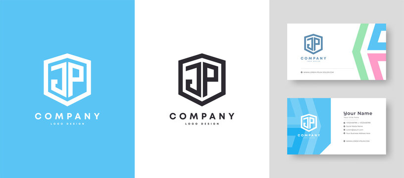 Flat minimal Colorful Initial JP PJ Logo With Premium Corporate Stylish Business Card Design Vector Template for Your Company Business