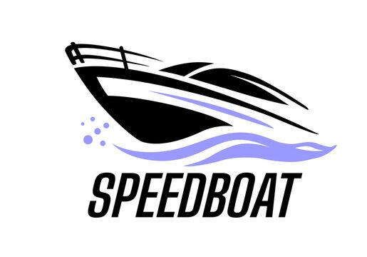 Yacht speed boat logo vector.