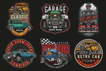 Fototapeta Custom cars vintage colorful labels obraz