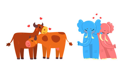 Obraz Animal Couples in Love Set, Cute Romantic Cow and Elephant Characters Hugging Cartoon Vector Illustration - fototapety do salonu