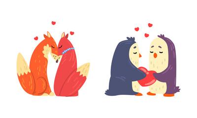 Obraz Animal Couples in Love Set, Cute Romantic Fox and Penguin Characters Hugging Cartoon Vector Illustration - fototapety do salonu