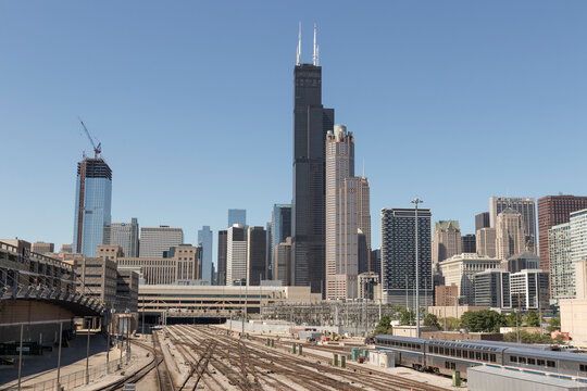 Chicago downtown skyline from the Railyard on a sunny day.