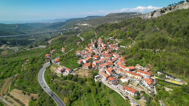 DRONE: Spectacular freeway viaduct runs past the quiet village in Slovenia.