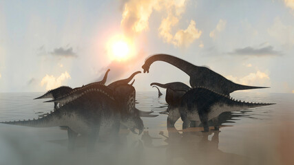 dinosaurs at sunset render 3d
