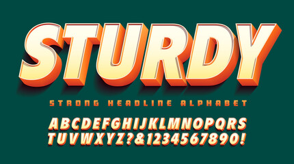 Sturdy 3d font; great for strong attention-grabbing headline art. Orange, yellow and white color scheme on a deep green background. - fototapety na wymiar
