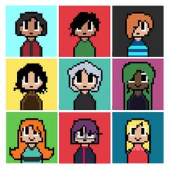 Cute Pixel Art Portrait Vector Illustration Set