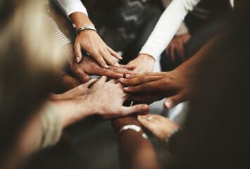 Joined hands for teamwork - fototapety na wymiar