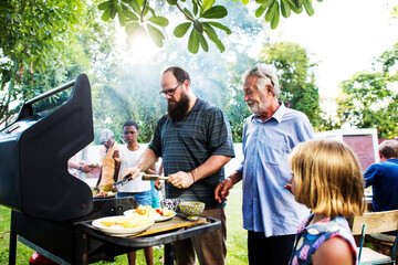 Obraz Diverse people enjoying barbecue party together - fototapety do salonu